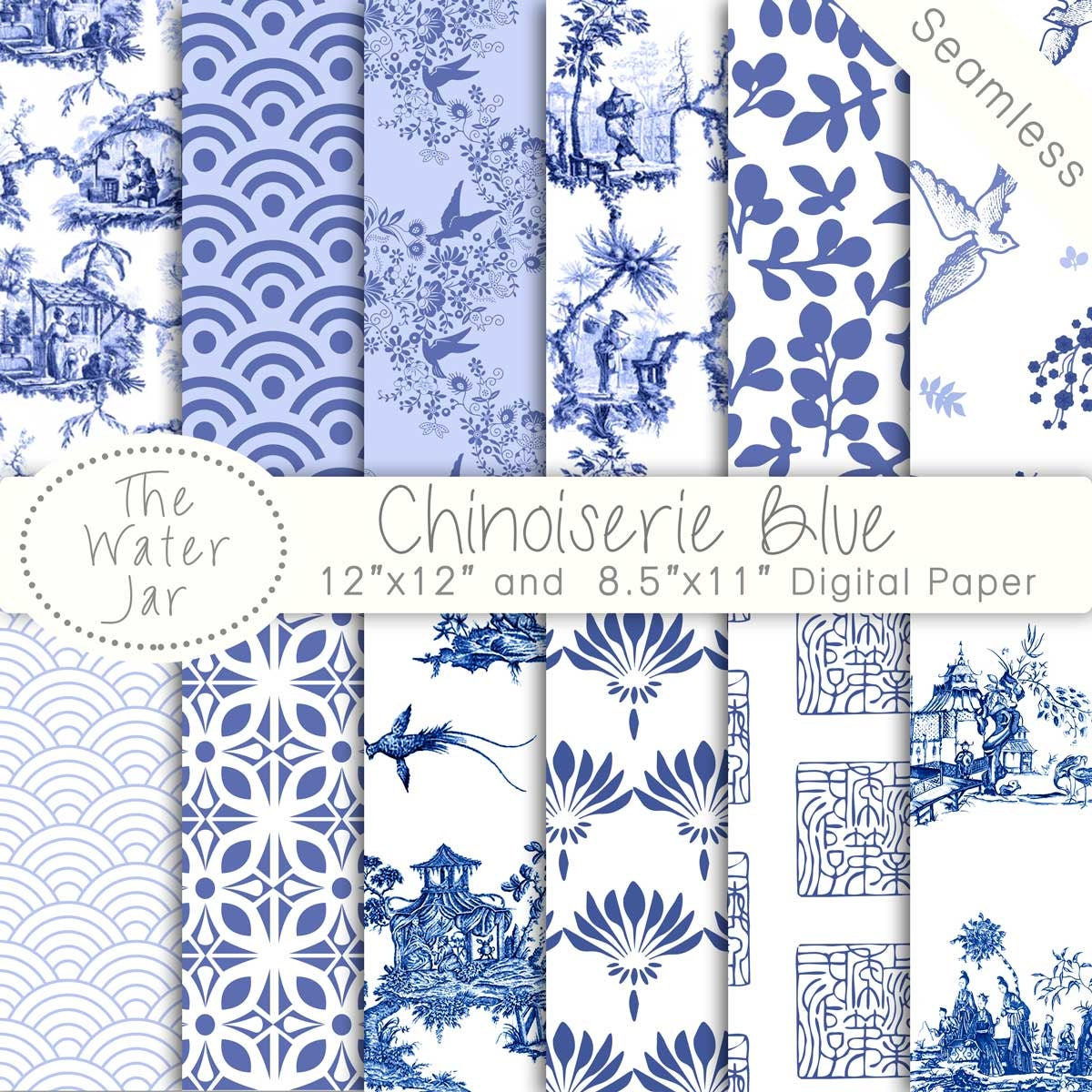 Chinoiserie China Blue Digital papers Chinoiserie Scrapbook | 1200 x 1200 jpeg 358kB