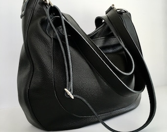 DOUBLE STRAP URSULA - Oversized -  Leather Bag - Carry on Bag - Leather Work Bag - Office Bag - Leather Laptop Bag