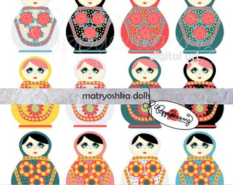 Matryoshka Dolls: Clip Art Pack (300 dpi transparent png) Russian Nesting Kukla Dolls Clipart by Poppydreamz