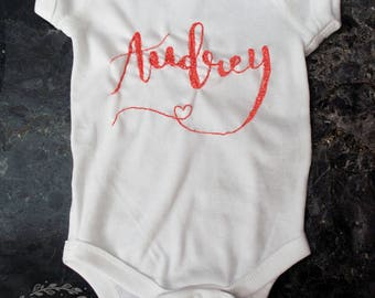 Custom Hand-Embroidered Onesie   Baby   One of a Kind   Newborn   Infant   Calligraphy   Embroidery   Monogram