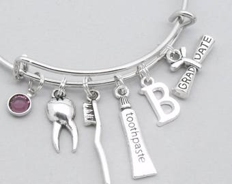 Dental graduation toothbrush & toothpaste bracelet with monogram initial | dentist graduation | dentist gift | dental hygienist gift | teeth