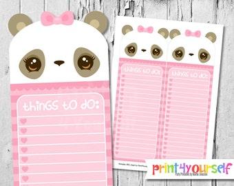Printable Teal Panda To Do List