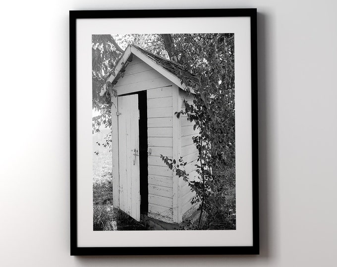 Featured listing image: Bathroom Wall Art, Farmhouse Decor, Black and White Bathroom Prints, Framed Art, Outhouse Photo, Urban Farmhouse Bathroom decor