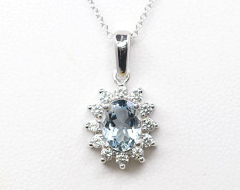 Aquamarine Diamond Necklace. 14k White Gold Diamond Pendant. AAA Natural Aquamarine. 0.36ct High Quality Diamonds. March Birthstone Necklace