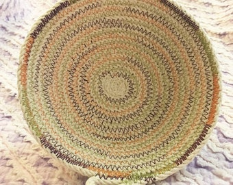 Small clothesline rope bowl with fall-themed colored thread