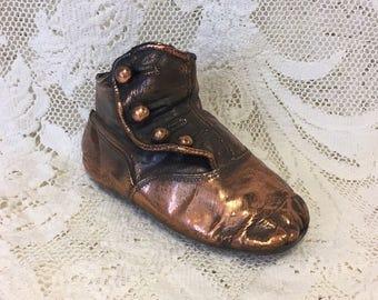 Vintage Bronzed Baby Shoe - Bronze Button Up Baby Shoe - Victorian Baby Shoe - 1930s Shoe - Copper Baby Shoe Keepsake