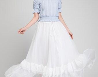 chiffon skirt, maxi skirt, wedding skirt, white skirt, summer skirt, romantic skirt, boho skirt, beach skirt, elastic waist skirt 1878