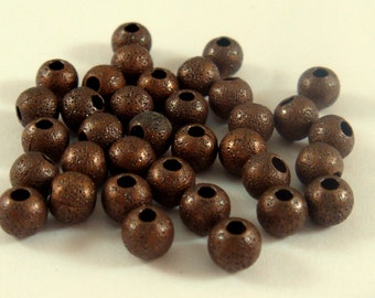 50 Antique Copper Stardust Beads 4mm Round Brass NF 1mm hole - 50 pc - M7055-AC50