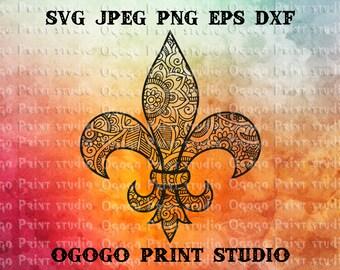 Fleur de lis Svg, Zentangle Svg, Fleur de lys Svg, Mandala Pattern Circle Monogram Boho svg Doodle Art, cut files silhouette cameo & cricut
