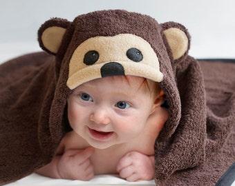 Hooded Towel / Monkey / Li'l Monkey / Hooded Bath Towel / Zoo Animal / Jungle Animal / Personalized / Baby Gift / Baby / Toddler