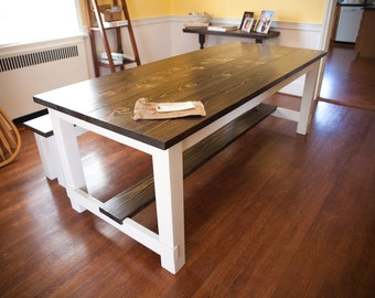 8' Harvest Table | Solid Wood Farmhouse Dining Table with Stretchers | Built to Order | Rustic Harvest Table