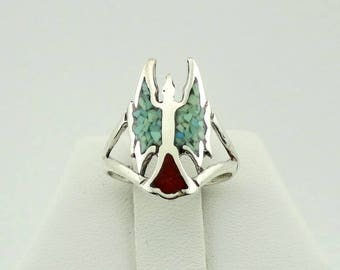 Vintage Navajo Turquoise and Coral Inlay Peyote Bird Sterling Silver Ring FREE SHIPPING #PEYOTE-SR7