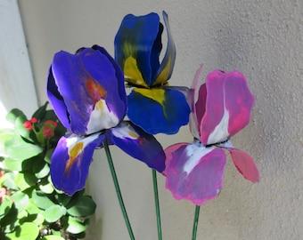 Iris Flowers Made Of Steel, Irises, Bouquet, Flowers, Metal Sculpture, Metal Flowers