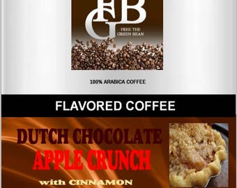 Dark Dutch Chocolate Apple Crunch with Cinnamon flavored coffee. A Free the Green Bean exclusive combination of popular flavors. 2oz