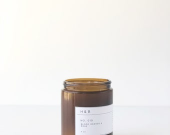 Soy Candle / No. 010  / Blood Orange. Rose.  /  8 oz Soy Wax Candle / Hand Poured / Scented Soy Wax / Amber Jar /