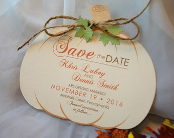 Pumpkin Wedding Save the Date, Fall Wedding Save the Date, Autumn Wedding Save the Date, Pumpkin Shape Invitation, Rustic Save the Date,