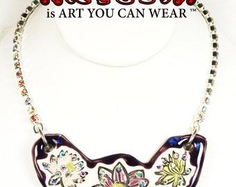 Lotus Flower Sparkle Surly Ceramic Necklace With Rhinestone Chain In Dark Purple
