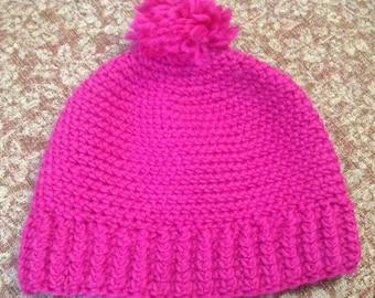 Fuscia ski hat with Pom Pom, winter chunky beanie, knit hat, crochet style hat with Pom pom