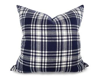 Pillow Covers, Navy Blue Plaid Pillows, Tartan Pillows, Wool, Plaid Pillows, Decorative Pillow, Blue Cream White, Country Decor, Lumbar, 20