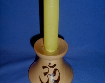 Handmade Wooden Candle Holder with the  *Om Symbol*  Yoga/Meditation/Chanting/Stillness & Serenity.