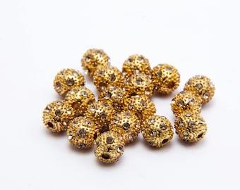 8 pearls round 8mm golden metal Shamballa
