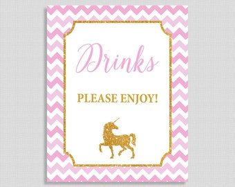 Unicorn Drinks Shower Sign, Drink Table Sign, Pink and Gold Glitter Shower Sign, INSTANT PRINTABLE