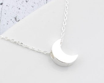 Sterling Silver moon necklace, necklace moon, moon, moon pendant, Charm moon, moon jewelry, crescent, half moon, full moon