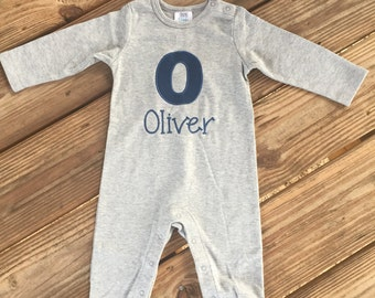 Personalized long sleeve infant romper