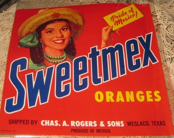Sweetmex Oranges Crate Label Vintage Ephemera