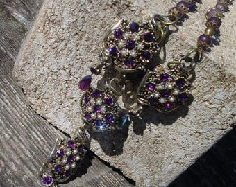 Renaissance Queen Necklace assemblage necklace purple necklace upcycled necklace amethyst necklace one of a kind necklace statement necklace