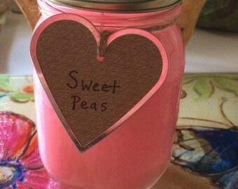 16 oz. Sweet Peas Soy Candle in Mason Jar
