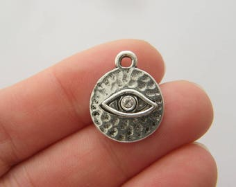 BULK 30 Eye charms antique silver tone I16