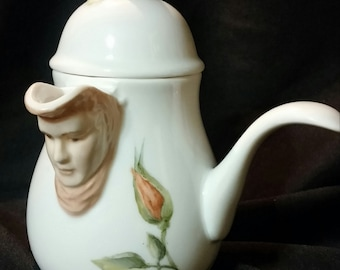 China Painted Porcelain Handled Syrup/Gravy Server with Cabbage Roses