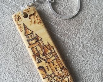 Fantasy castle pyrography keyring wood keychain