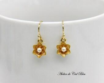 Flower Earrings, Iris Flower Earrings, Gold Flower Dangle Earrings, Enamel Flower Earrings, Pearl Flower Earrings, Flower Jewelry