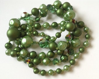 Vintage Green Beaded Necklace, Knotted Beaded Necklace, AB Satin Pearlized Dimpled and Faceted Beads
