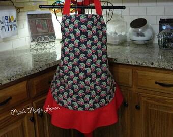 Ladies Full Apron, Black  Vintage Appliances Apron, Woman's full Apron / Retro Style / Full Designer Kitchen Apron / Vintage Apron