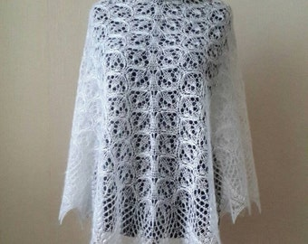 Knitted mohair silk white shawl, Lace knit shawl, Wedding shawl, Evening shawls wrap, Knit mohair shawl, lace knit shawl, Kid mohair shawl