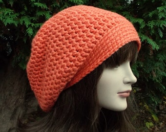 Coral Slouchy Beanie, Womens Crochet Hat, Oversized Slouch Beanie, Chunky Hat, Orange Baggy Beanie, Slouchy Hat, Winter Hat, Slouch Hat