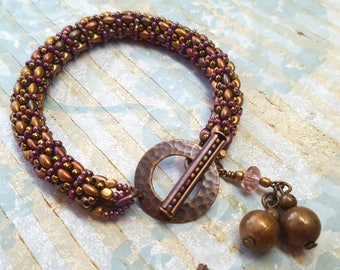 Bead Woven Bracelet, Right Angle Weave Rope, Elegant, Copper, Purple, Brass, Gift for Her