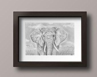 Elephant Print - Elephant Art - Elephant Decor - Elephant Nursery - Elephant Wall Art - Wildlife Art - Elephant Art Print - Elephant Gift
