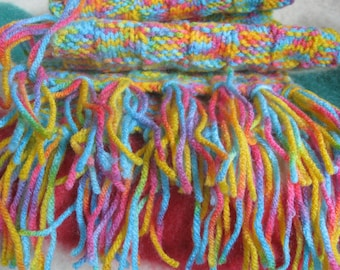 Bubble Gum HAND-KNITTED SCARF – 40n x 7in Yellow Pink Blue