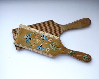 Antique Unique Wooden Butter Pats with Floral Design
