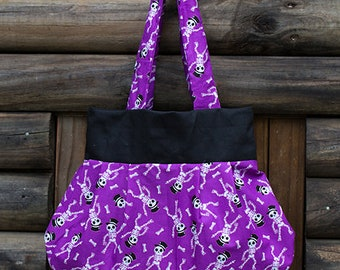 Purple Skeleton Print Fully Lined Handmade Shoulder/Handbag