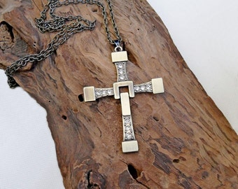 Large bronze cross necklace crystal inlay, big size cross pendant, mens cross necklace women, Vin Diesel cross necklace, versatile cross,