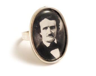 Edgar Allan Poe ring antique silver adjustable steampunk gothic goth