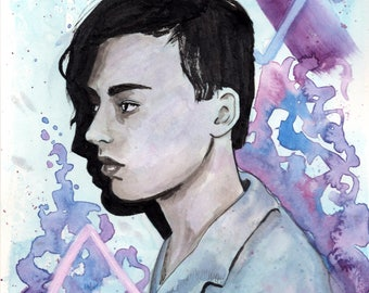 Watercolor Portrait of a Man - Blue and Purple, Watercolor, Ink, Illustration, 6 x 8