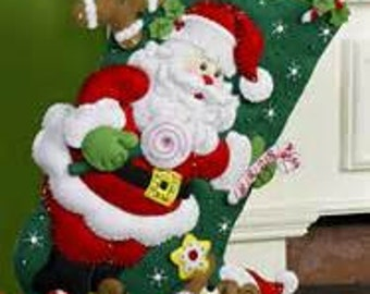 Santas and Teddy Felt Applique Christmas Stocking Kit