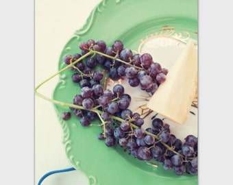 Food Photography postcard, 5 x 7 greeting card, grapes, cheese, fruit, fine art, still life, note card, foodie, hostess gift, kitchen art
