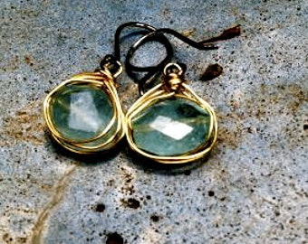 Pale Blue Aquamarine, Gold Vermeil and Oxidized Sterling Silver Earrings/March Birthstone
